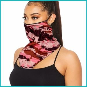 ‼️NEW‼️  Neon Coral Camo Mask Scarf w/ Ear Loops
